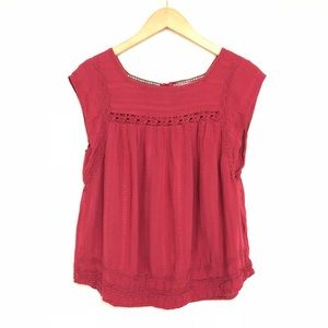 Knox Rose Wine Red Embroidered Crochet Top Boho